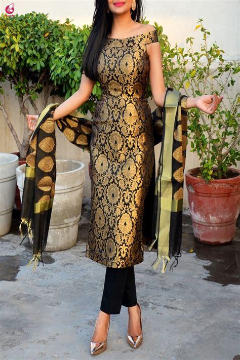 buy black brocade padded  shoulder kurta  pants