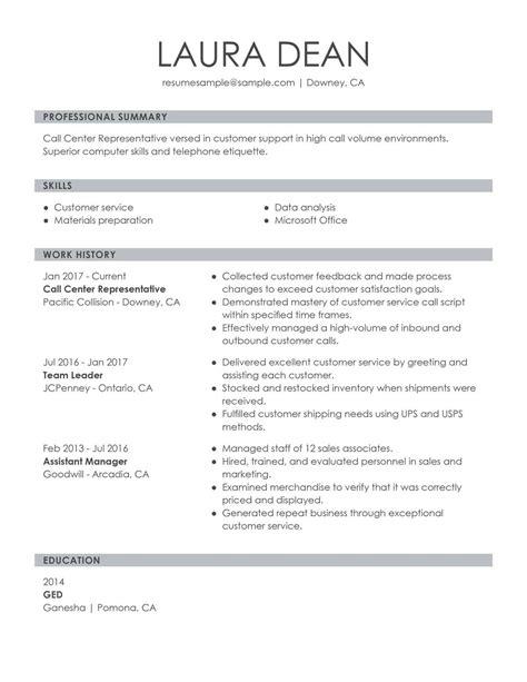 customer service representative resume examples
