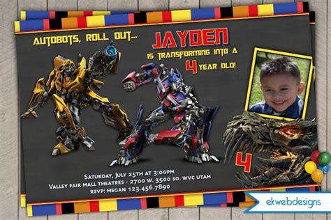 transformers  personalized photo birthday invitations