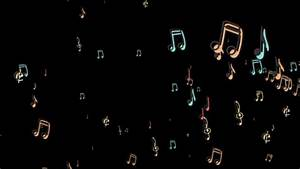 Music Notes floating from the side (black background ...
