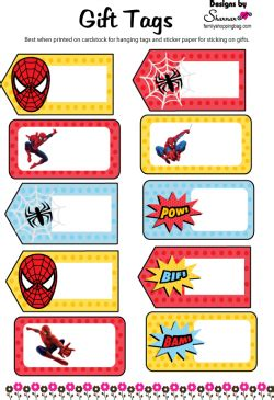 spider man gift tags spiderman gift tags