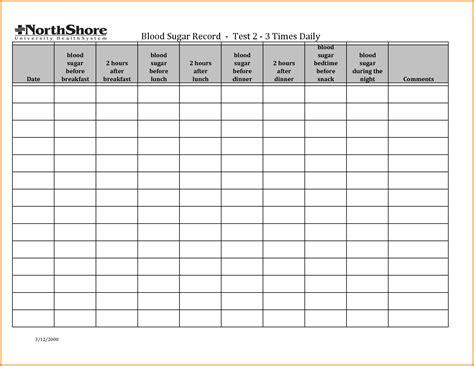 7 glucose log sheet memo templates