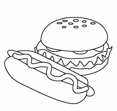 Coloring Hamburger Fast Pages Drawing Printable Dog