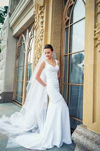 long wedding dress with train white long wedding dress With crepe wedding dress