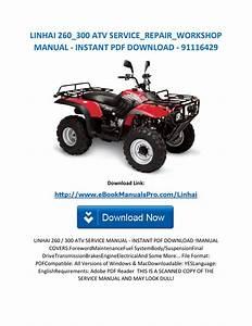 Linhai 260 300 Atv Service Repair Workshop Manual Instant