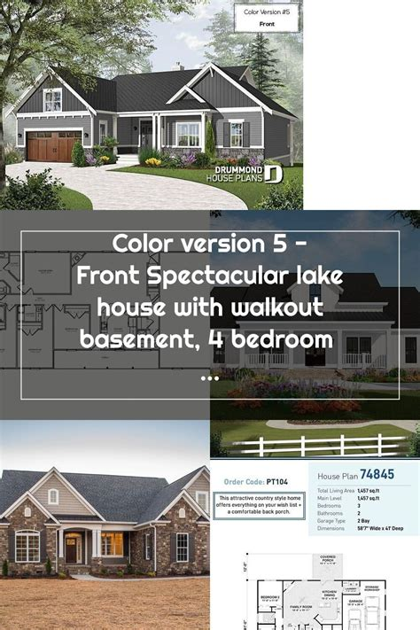 Color version 5 Front Spectacular lake house with