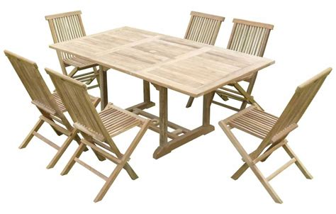 table chaises jardin table de jardin en bois avec rallonge en teck massif 6 places