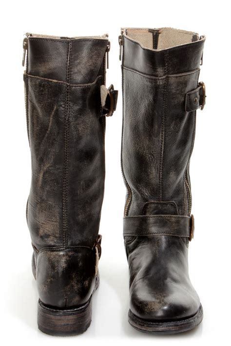 bed stu gogo black hand wash leather belted riding boots