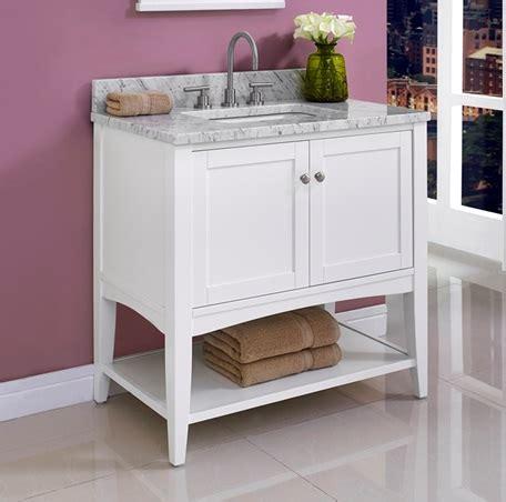 shaker americana  open shelf vanity polar white