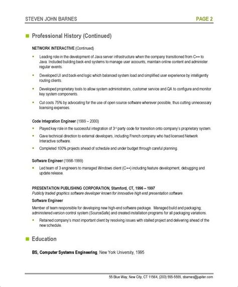 Free Professional Resume Software by Software Developer Page2 It Resume Sles Resume