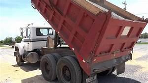 Mack Dump Truck Spreading Gravel 2 - YouTube