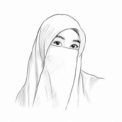 Sketsa Muslimah Bercadar Gambar Kartun Mudah Lucu