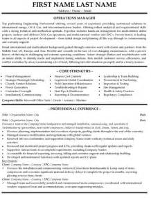 business operations resume objective sle resume sales operations manager
