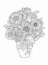 Coloring Flowers Pages Bouquet Printable Coloringtop sketch template