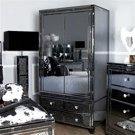 diamond glitz noir smoked mirrored  door  drawer