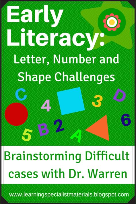 early literacy letter number  shape challenges