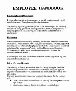 sample employee handbook 9 documents in pdf With personnel manual template