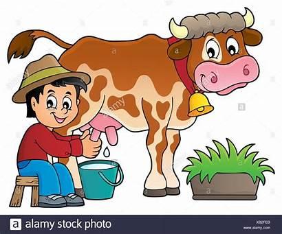 Cow Milking Farmer Clipart Milk Clip Cows
