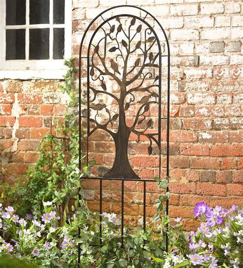 Metal Garden Trellis With Tree Of Design metal garden trellis with tree of design arbors