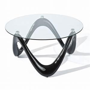 Table Basse En Verre Ronde : table basse ronde valentine noir verre 80 cm 20801370 achat vente table basse sur ~ Teatrodelosmanantiales.com Idées de Décoration