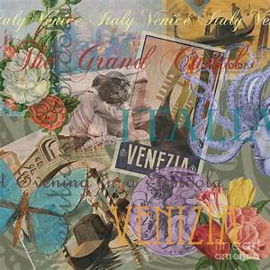 Venice Vintage Trendy Italy Travel Collage Painting by