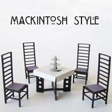 1 48th scale mackintosh style tearoom chairs and table