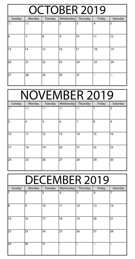 blank october  december  calendar printable magic