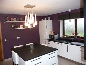 cuisine apres photo 1 4 meubles blanc brillant et noir With deco cuisine avec meuble salle a manger blanc et bois