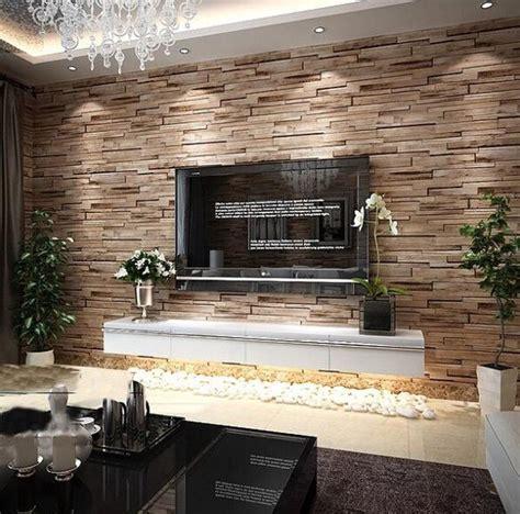 rustic modern  room faux brick wall wallpaper bedroom