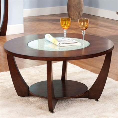 Shop coffee tables at interiors online. Steve Silver Rafael Round Cherry Wood and Glass Coffee Table   Wood cocktail table, Round wood ...