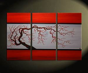tree triptych design decoration With what kind of paint to use on kitchen cabinets for plum canvas wall art