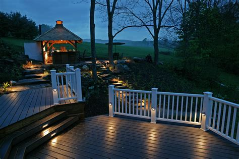 beautiful white wooden deck fences led outdoor lighting