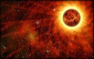 Venus looks like a ball of fire, Venus is red, orange, an ...