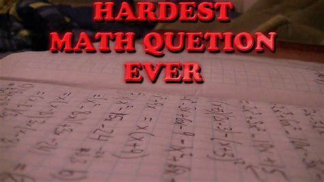 hardest math question  davian hart youtube