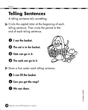 telling sentences printable skills sheets