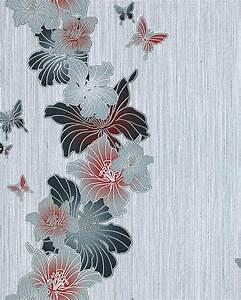 Papier Peint Rose Et Gris : edem 108 36 papier peint design motif fleurs papillons ~ Dailycaller-alerts.com Idées de Décoration