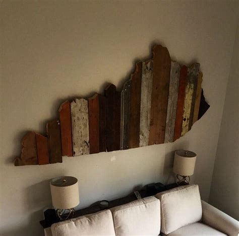 kentucky reclaimed wood state outline wall art large
