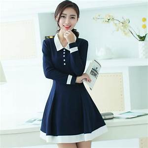 New Korean Fashion Autumn Girls Shirt Dress Long Sleeve ...
