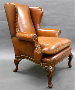 a georgian style leather upholstered wing chair antiques