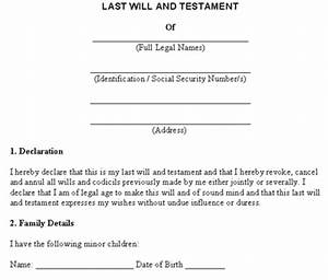 Last will and testament free template for Templates for wills free