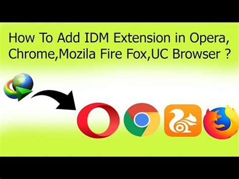 Adds download with idm context menu item for links, adds download panel, and helps to intercept downloads. How To Add IDM Extension in Opera,Chrome,Mozila Fire Fox ...