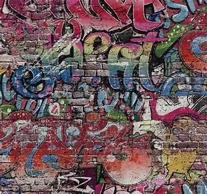 tapete graffiti stein mauer kinder bunt ps 05530 10 With balkon teppich mit graffiti tapete