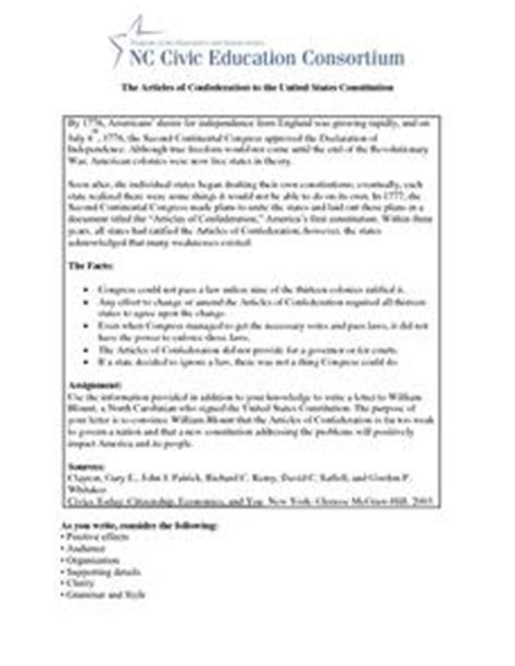 the articles of confederation to the united states constitution 8th 11th grade worksheet
