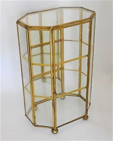 small table top curio cabinet vintage cherry mirrored wood curio miniature display