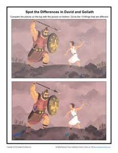 david and goliath spot the differences children 39 s bible activities sunday school lessons for