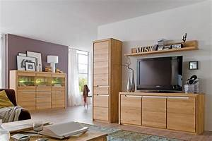 Wohnzimmer Pisa 55 Eiche Bianco Massiv 4 Teilig Wohnwand