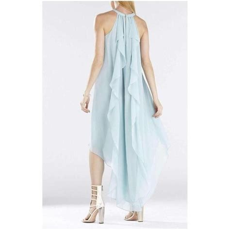 Kelsia Aqua Mist Cascade Ruffle Halter Dress IQI66D43 ...