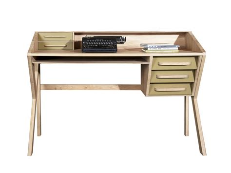 solid wood writing desk with drawers origami writing desk by ethnicraft