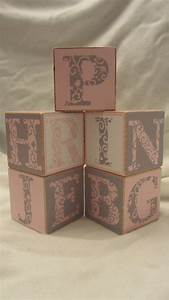 Pink grey modern alphabet 5 wood blocks girls nursery room for Letter blocks for baby room