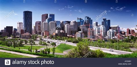 Calgary City Downtown Beautiful Skyline Panoramic View With Centre Stock Photo